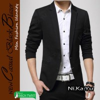 BLAZER CASUAL BLACK (S M L XL) -MODEL KOREA JAS PRIA PESTA KERJA
