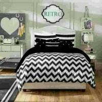 bed cover set motif zig zag warna hitam putih ukuran single 100x200