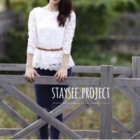 Atasan Brukat Putih Premium / Baju lengan panjang brukat premium