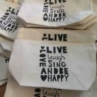 Wedding Souvenir/Goodie bag Event/Zipper Pouches/Dompet Kanvas Blacu