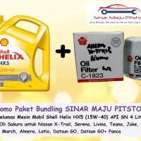 Bundling Oli Mobil Shell Helix HX5 & Filter Oli Datsun Go, Go+ Panca