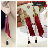Anting - Little long tassel red ribbon earrings