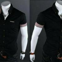 [QIRREEL BLACK] kemeja pria lengan pendek baju cowok slim fit hitam