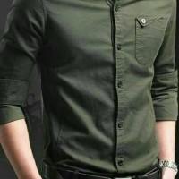 [MYLER ARMY XL] pakaian hem pria kemeja cowok slimfit baju warna army