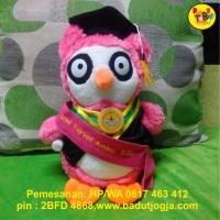 Boneka Wisuda Owl Pink Plus Selempang Bordir Nama dan Pin 30cm