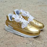 Sepatu Running Nike Airmax 90 Kuning Emas Putih
