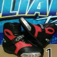 sepatu boots touring/motor/drag alpinestar hitam merah