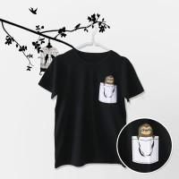 Tumblr Tee / T-Shirt / Kaos Wanita Lengan Pendek Pocket Sloth Hitam