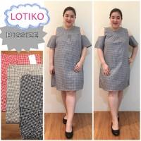 Lotiko Pundak Bolong Dress Jumbo Baju Atasan Wanita Big Murah