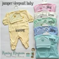 Jumper/Jumpsuit/Sleepsuit Baju Bayi Merah Set Topi Newborn