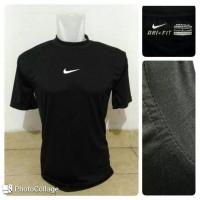 Baselayer / Manset Lengan Pendek Nike Black Baju Pakaian Olahraga Gym