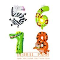 balon foil angka hewan / balon angka hewan / angka hewan murah