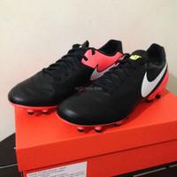 Sepatu Bola Nike Tiempo Genio II Leather FG Black Orange 819213-018