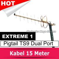 Antena Penguat Sinyal Yagi Extreme 1 Pigtail Modem TS9 Dual Port