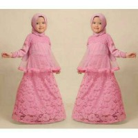 baju muslim anak warna pink bahan brukat free pashmina
