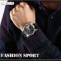 Jam Tangan Kulit leather Chronograph SKMEI asli 9106
