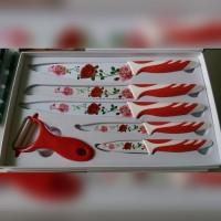 pisau dapur keramik set motif bunga / kitchen knife isi 6pcs + box
