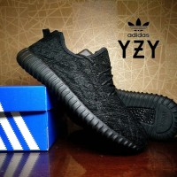 sepatu casual adidas yeezy boost 350 black premium / couple sekolah