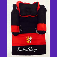 Kasur Set Bayi Bordir Warna Merah dilengkapi 1 pcs Bantal Peang & 2 pc