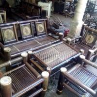 meja kursi bambu wulung gambar wayang