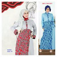 Obral Baju Gamis Dewasa Keke GDK 191 Biru Batik Mega Mendung