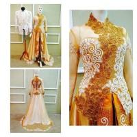 kebaya ekor modern murah / baju akad cantik / gaun nikah mewah gold