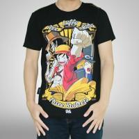 One Piece T-shirt Kaos 3 Brothers Ace,Luffy,Sabo Anime Hitam KD CW 116