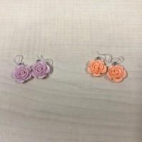 Anting Bunga Mawar Purple kait Plastik / Earrings Rose plastic clasp