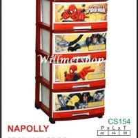 Lemari Plastik Napolly 4 susun 4000 Keropi Hellokitty Spiderman Frozen