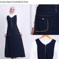 Gamis maxi jeans dress hijab overall with inner hijabers jumpsuit