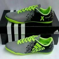 Sepatu Futsal Anak Adidas Techfit X Abu2 Hijau stabilo