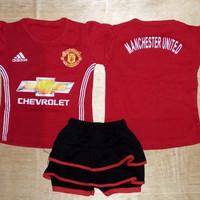 Setelan Bayi cewek /Baju Bola Anak perempuan Rok Manchester United MU
