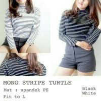 Turtle neck stripe Ls / Atasan wanita / Baju belang
