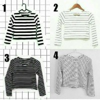 Crop Top stripe tee / atasan wanita / baju belang