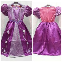 baju dress kostum rapunzel princess ungu import / drops Diskon