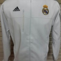 MURAH!! Jaket Bola Grade ORI Real Madrid Anthem White Official