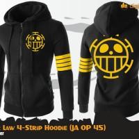 Jaket Sweater Hoodie Anime One Piece Trafalgar Law - 4 Strip Hoodie