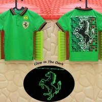 Kaos / Baju Anak Glow In The Dark Kerah Ferrari Hijau