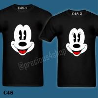 Mickey & Minnie Big Face Disney   C48   Kaos Couple   Family T-Shirt