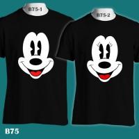 Mickey & Minnie Mouse Big Face Disney   B75 Kaos Couple Family T-Shirt