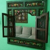 Jendela Krepyak Cermin Hias Jati Antik Ukir Lapak Jepara