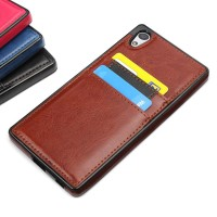 Sony Z5 Premium - RETRO Leather Back Soft Case Cover Casing Card Slot