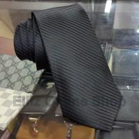 Dasi Panjang Pria Motif Salur Hitam / Black - Lebar 3 inch (7,5 - 8cm)