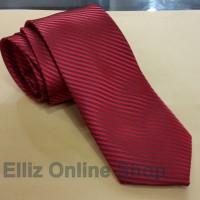Dasi Panjang Pria Motif Salur Candy Red - Lebar 3 inch (7,5 - 8cm)