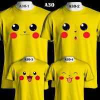 Wajah Pikachu Lucu Pokemon   A30   Kaos Pasangan Couple Family T-Shirt