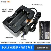 Paket Hemat Charger Dual Slot Dan Battery AWT Black 3400 MAH 18650