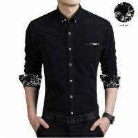 [THOMPSON BLACK] baju kemeja pria slim fit lengan panjang warna hitam
