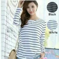 XL/atasan wanita/baju belang/stripe ls/xl