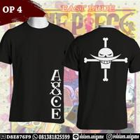 Kaos Anime One Piece OP4 Ace Tattoo Logo Lengan Pendek
