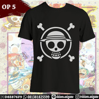 Kaos Anime One Piece OP5 Topi Jerami Logo Lengan Pendek